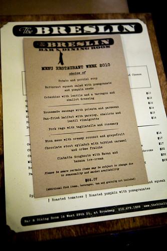 The Breslin Restaurant Week Menu