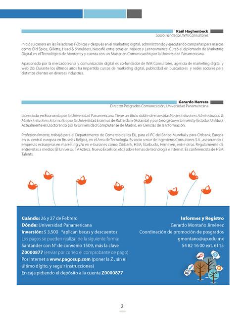 Folleto Workshop Campaas Online (atrs) by Posgrados Comunicacin UP