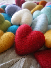 color (lilfishstudios) Tags: color wool felted hearts handmade craft needlefelting roving crafting