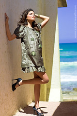 Gold In The Air Of Summer (Zakaria Salhi) Tags: africa portrait beach colors girl beauty fashion model eyes nikon style bleu morocco maroc mm nikkor 50 marruecos marokko reflector afrique d300 strobist zakariasalhi