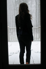 Week 4/52 (lauren kovalefsky) Tags: door snow glass girl lookingthrough