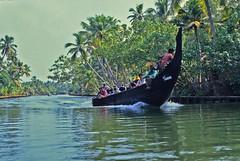 Typical fishing boat on the Kerala backwaters, southwest India (Yvon from Ottawa) Tags: india boat canal fishing kerala backwaters boatride navigating kovilthottam