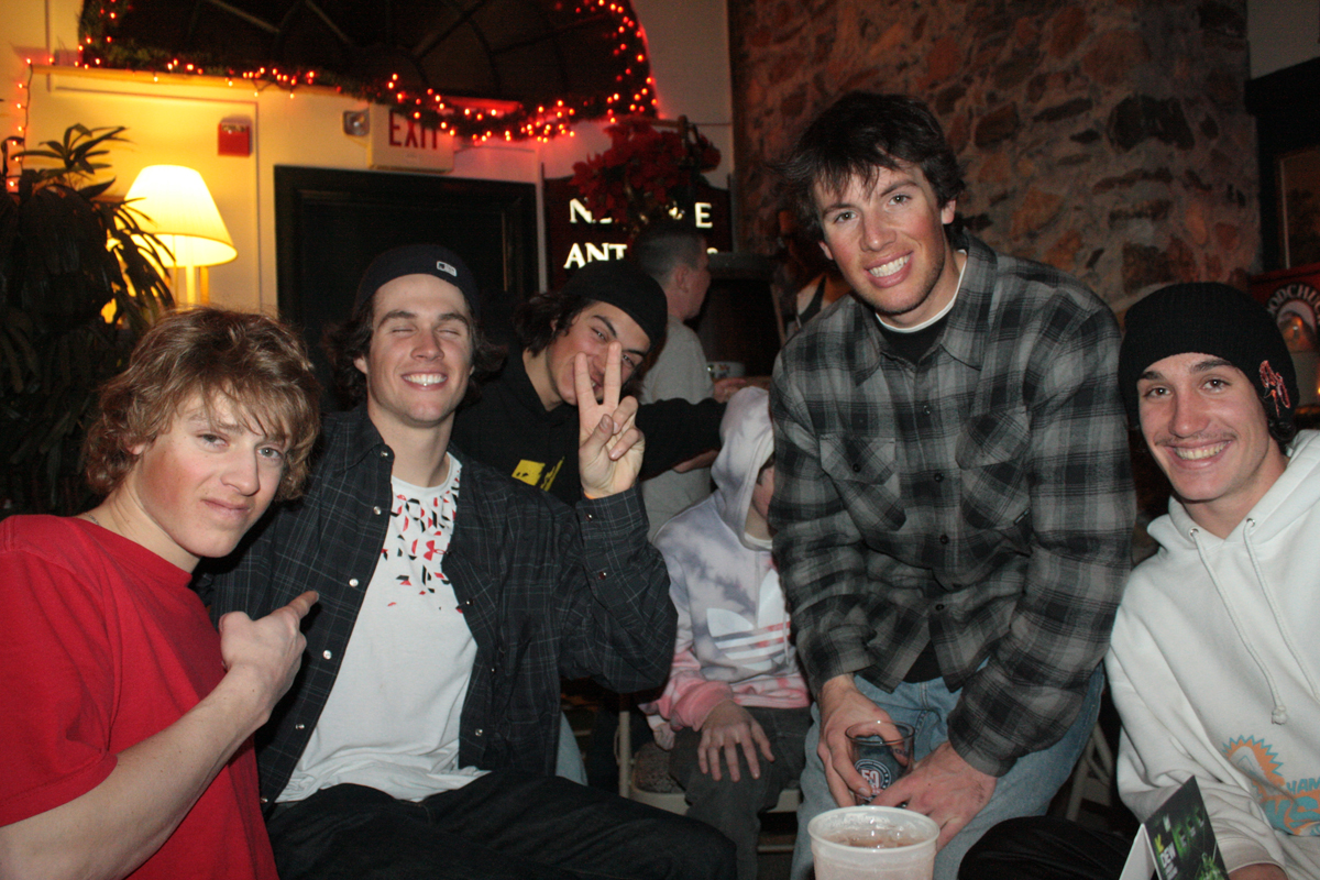 Joss Christensen, Bobby Brown, and Elias Ambühl chillin at the Matterhorn