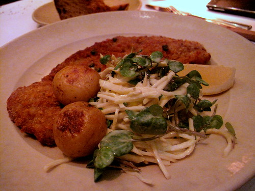 Pork Milanese with Celery Root Remoulade Salad and Little Potatoes