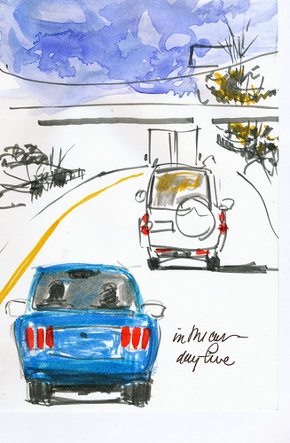 In the car sketching, blue car
