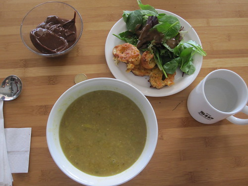 Spicy beef and lentil soup, salad, garlic bread, chocolate pudding from the bistro - $6