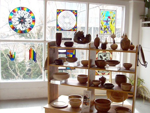 Some of the fabulous work in the Jerome Artists Coop - Glass by Fred Reinhardt, Wooden works by Blake ONeil