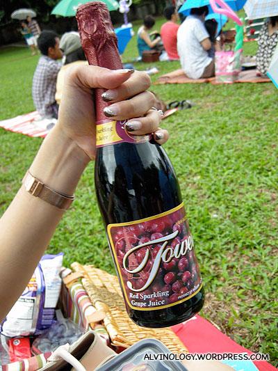 Our bottle of sparkling juice