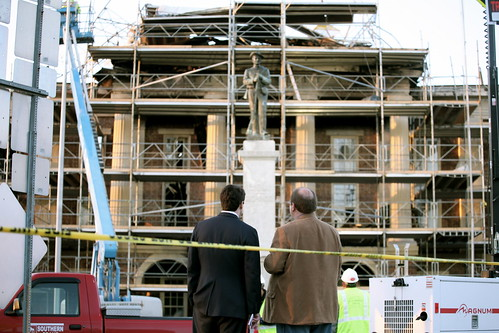 Cal Cunningham and Pittsboro Mayor Randy Voller view the destruction at the Chatham County Courthouse