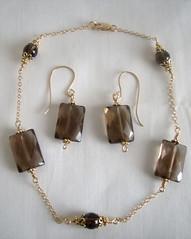 14KT Goldfilled Anklet/Ankle Bracelet with Earrings # 10 (Maria White Designs) Tags: set earrings quartz anklet smokeyquartz anklebracelet 14ktgoldfilled