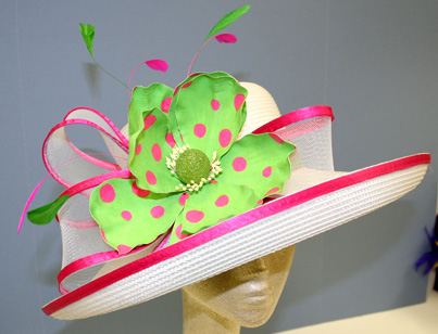 Dees Crafts Pink and Green Derby Hat
