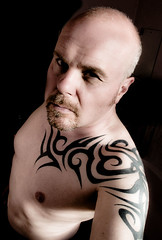 Tattoos in Minimal Colour (CWhatPhotos) Tags: olympus epl1 elp1 four thirds digital camera 1442mm view photo photos pics picture pictures pic image images foto fotos that have with which contain self portrait me cwhatphotos tattoo tattoos tattoed inked tribal tattooed ink body art upper arm shoulder arms chest flickr