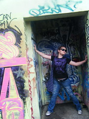 inner beauty (skintone) Tags: toronto ontario canada color art beautiful beauty fashion sarah pose graffiti alley sneakers jeans teen artland artiseverywhere skintone itsmulticolored