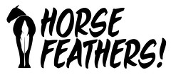 The OFFICIAL Logo (Horsefeathers! Comedy) Tags: horse white black college logo design sketch comedy university films letters humor feather msu movies eastlansing michiganstate typeface horsefeathers webseries vimana vimanafilms