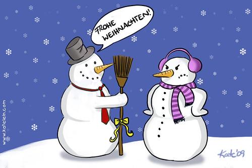 Schneemänner an Weihnachten