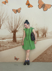 Butterflies (Elsita (Elsa Mora)) Tags: blue portrait orange inspiration selfportrait color art smile fashion photoshop self hair happy outfit nice shoes artist personal top sandals background inspired remix seed style skirt blouse hidden blogged wardrobe elsa mora selfexpression elsita