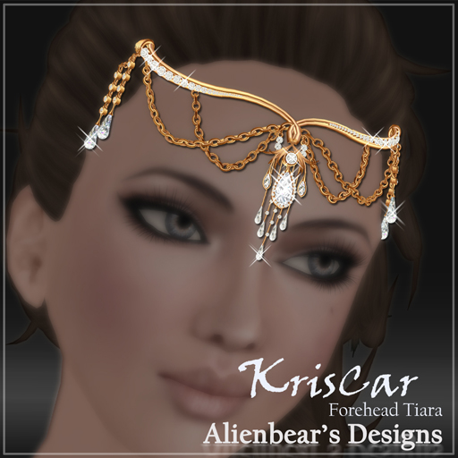 KrisCar gold forehead tiara white