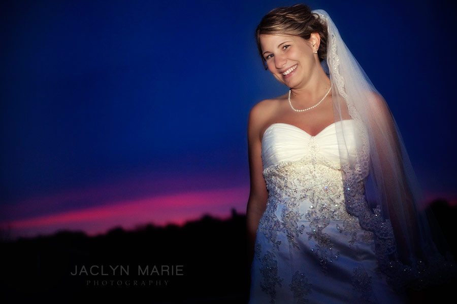 bride portrait photo at sunset