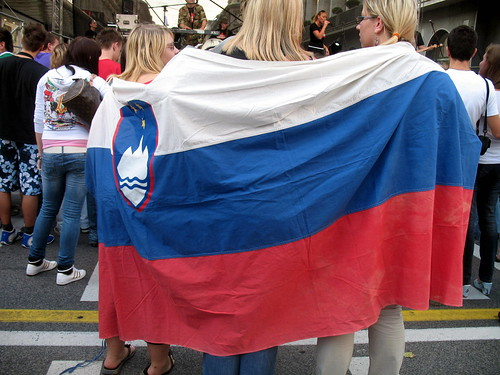 Girls with Slovenian flag