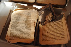 4b damaged ancient book, library