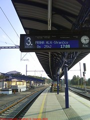 New Digital Platform Trainboard at Nadrazi Cercany, Cercany, Bohemia (CZ), 2009 (jonsearlesphoto) Tags: cameraphone station digital train phone czech cd sonyericsson platform rail railway trains czechrepublic passenger renovation bohemia reconstruction rebuilding nadrazi ceskedrahy trainboard rekonstrukce cercany jonsearlesphoto nastupiste w302