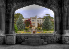 Royal Roads Selective Colour (Brandon Godfrey) Tags: world pictures school autumn trees sky bw canada color colour tree castle fall clock colors monochrome rock clouds stairs landscape photography grey scenery colorful arch colours bc cloudy photos pics earth britishcolumbia sony mason masonry scene victoria vancouverisland walkway pacificnorthwest northamerica greater alpha dslr hdr highdynamicrange royalroadsuniversity selective hatleycastle colwood photomatix tonemapped tonemapping vista18 sonya300