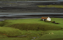 boerderijtje (Ivo De Decker wishing you all the best) Tags: travel water lava iceland sand stream europe sheep farm valley dirtroad 1001nights sland hrifunes lavasand platinumheartaward 1001nightsmagiccity
