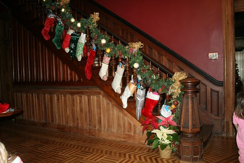 a staircase full of stockings