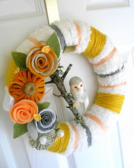White, Mustard and Grey Yarn Wreath (KnockKnocking) Tags: white tree art home wool yellow grey cozy mixed soft branch sweet assemblage gray stripe peach fluffy felt velvet yarn wreath round owl mustard decor knockknocking