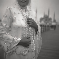 B11215460 (Nasey) Tags: wedding portrait people blackandwhite bw tlr film mediumformat bokeh seagull hijab squareformat malaysia bnw terengganu twinlensreflex kualaterengganu tti autaut seagull4a103 nasey nasirali tamantamadunislam