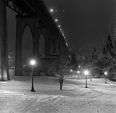 St. Johns Bridge, study 1 (Zeb Andrews) Tags: city winter urban snow storm film night oregon square portland cityscape nightlights snowy stjohns nighttime pacificnorthwest kodaktrix pdx stjohnsbridge hasselblad500cm cathedralpark bluemooncamera zebandrewsphotography