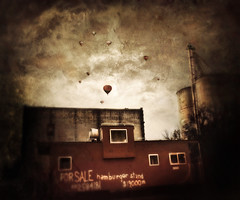 hamburger stand (Joslyn Cain) Tags: balloons weird surrealism joslyncain