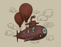 The Fantastic Voyage (igo2cairo) Tags: voyage travel illustration clouds vintage submarine journey octopus charming seaturtle whimsical seacreatures steampunk airballoon fantasticvoyage terryfan igo2cairo