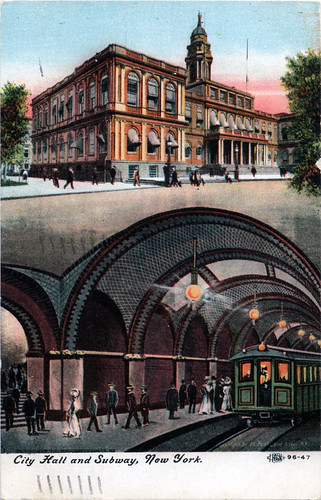 collection of chris leverette Postcard City Hall and Subway, New York