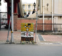 Angry fuse box. Tainan, Taiwan (deepstoat) Tags: street colour 120 film mediumformat graffiti taiwan roll fusebox spongebobsquarepants mamiya7ii kodakportra deepstoat