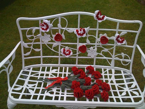 Crocheted Carnations, Crocheted Hearts and Crocheted Valentine Butterflies