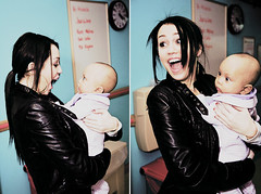 Miley [&&] Baby (selenagomezarchive.tumblr.com) Tags: baby face eyes holding funny child cyrus scared bulging miley