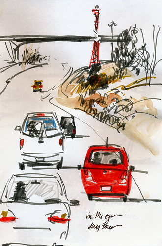 In the car sketches, tower