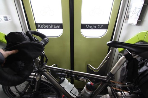 The 20 km train ride across the Great Strait Bridge (Storebæltsbroen) - no cyclists - between Nyborg and Korsør, Denmark.