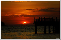 Red Sky Burning (potophlayr) Tags: trip sunset red sky nature landscape pier nikon jetty malaysia thursday 50200mm seaview kedah d60 merbok tanjungdawai