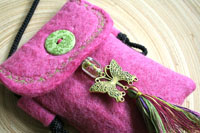 pink wool felt mini purse...a home for your phone, finally!