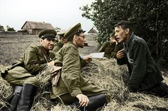Soviet soldiers question a German POW ww2 (Za Rodinu) Tags: world 2 man men history vintage soldier war gun russia military rifle rifles front german weapon ww2 soldiers historical guns 1942 1945 rare troops 1944 1943