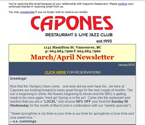 Capones March-April 2010 Newsletter excerpt