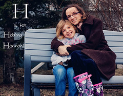 DAY 80 ~Holding Hannah (creatively swinging) Tags: cold bench mom outside 50mm prime boots daughter snowing hold xsi