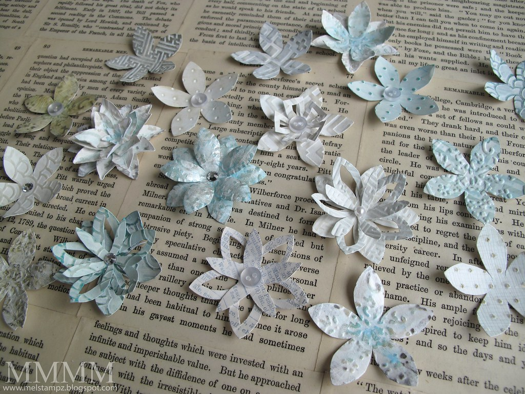 embossed fresco flower --all from 5 petal ek success flower punch-- melstampz