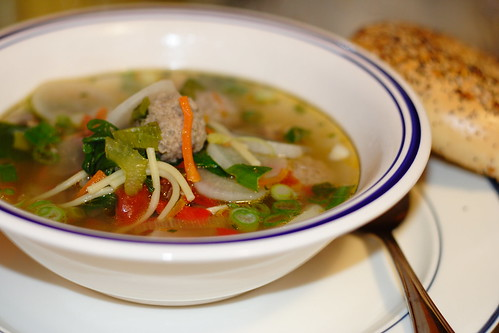 ClearMeatball soup with spinach0004