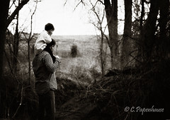 A little help from Daddy (cpapenhause) Tags: trees boy texture field creek daddy 50mm woods nikon son josh shoulders