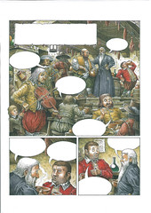 Comic book Sample - A sample for the first page of a comic book about Don Quixote. The story starts when a man comes into an inn, looking for Sancho Panz who is drinking at the bar.