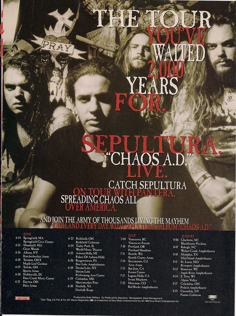 June-July-August 1994 Sepultura Tour Ad