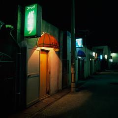 back street bars (akira ASKR) Tags: bar night fuji hasselblad okinawa  naha provia provia100f pachira  hasselblad500cm   rdpiii  uebaru  distagoncf50mmfle